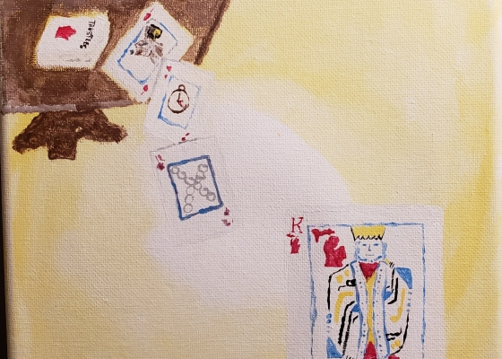 Painting on canvas of three players at a card table; a few cards fallen off the table; a King card painted painted with a red Michigan map instead of hearts.