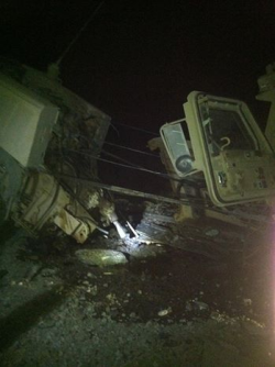 Disabled truck in Afghnistan, at night