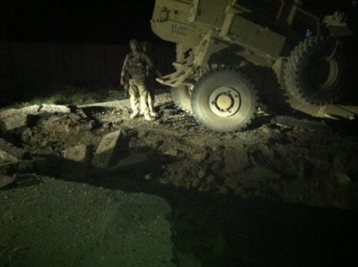 Disabled truck in Afghanistan, at night