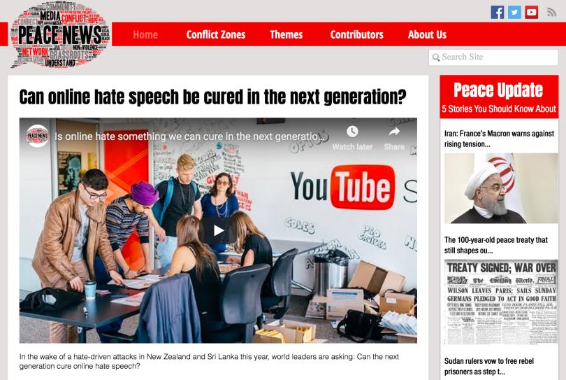 Screenshot of homepage of peacenews.com, shows headlines of a few stories