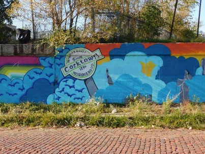Graffiti on wall, bright colors