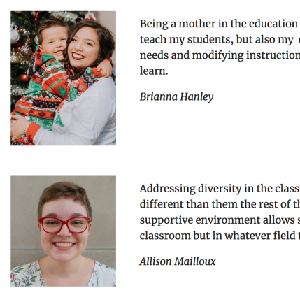 Screenshot of student website; two pictures of students, one holding a child.
