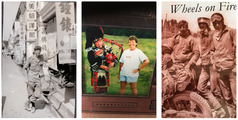 Three side-by-side photos of (left) a man in military outfit, posing on street with Asian signs, in black-and-white; a woman with a man in a Scottish kilt and pipies (middle); and three men in travel outfits, goggles, scarves, and helmets on their heads (in sepia). Photo credit: John Chisholm